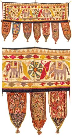 Vintage Indian Toran from Rajasthan. Torans are hung over the doorway or entrance to the home. Buy from: http://bringingitallbackhome.co.uk/shop/vintage-appliqued-indian-toran/