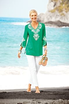 Vivid Green Jeweled Top #chicos