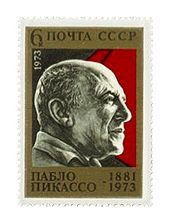 Postage stamp, USSR, 1973. Picasso has been honored on stamps worldwide.