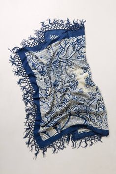 like blue transfer-ware, i love it!!  Tasseled Blueprint Scarf - anthropologie.com
