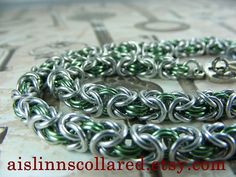 Sage and Silver Byzantine BDSM Slave Collar by aislinnscollared