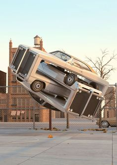 """Chris Labrooy via Colossal   For a series called """"Auto Aerobics,"""" illustrator Chris Labrooy makes surreal images of classic cars knotted together."""