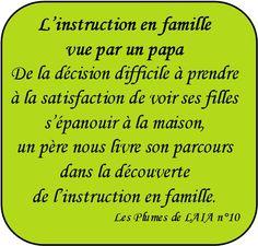 L'instruction en famille vue par un papa – Les Plumes de LAIA n° 10