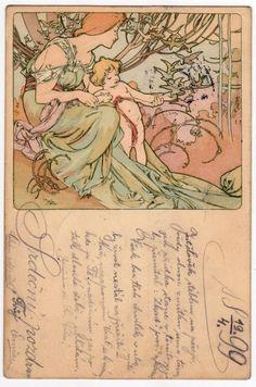 MUCHA Les Ages De La Vie Vintage Art Nouveau Postcard**