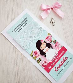 Como hacer estampitas de Primera Comunión con puntillas y cintas paso a paso First Communion, Unicorn Party, Betta, Scrapbook, Cards, Confirmation, First Holy Communion, Block Prints, Invitations