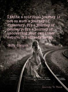 I think a spiritual journey is not so much a journey of discovery. It's a journey of recovery. It's a journey of uncovering your own inner nature. It's already there. -Billy Corgan
