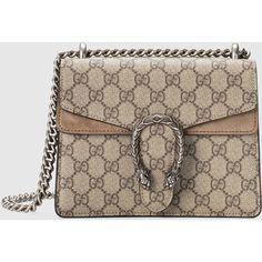 Gucci Dionysus Gg Supreme Shoulder Bag ($1,590) ❤ liked on Polyvore featuring bags, handbags, shoulder bags, gucci, women, mini shoulder bag, brown handbags, shoulder handbags, hand bags and mini handbags
