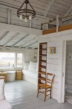 Cottage styled tiny house - Whitewashed walls, painted floor, windows letting in natural light. this encourages creativity for me. Beach Cottage Style, Beach House Decor, Home Decor, Coastal Cottage, Sweet Home, Beach Cottages, Tiny Cottages, Tiny House, Tiny Beach House