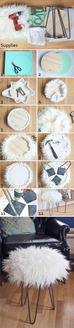 Interesante DIY para crear un taburete peludo con pies hairpin. Las imágenes son de dos blogs diferentes de los cuales uno de ellos parece que no está disponible. Sigue el paso a paso en las siguiente