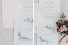 Wedding invitation with Hand-drawn peonies on cotton paper and light pink envelope.