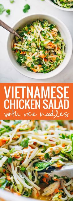 Vietnamese Chicken Salad with Rice Noodles made with chicken cabbage carrots lime mint cilantro and a tangy homemade dressing. 370 calories and SO good! Cucumber noodles instead of rice noods Asian Recipes, Healthy Recipes, Ethnic Recipes, Healthy Salads, Asian Salads, Fast Recipes, Avocado Recipes, Healthy Food, Vietnamese Chicken Salad