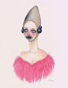 Glam Alien drawing fashion art illustration furry pink coat futuristic