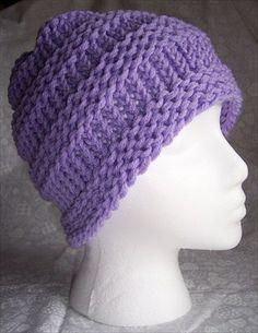 easy+loom+hat+patterns | Supplies: Knifty Knitter Adult Hat Loom, Bernat Berella yarn (Lilac)