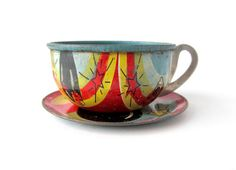 Teacup 'n Saucer Set of 2 Tin Toy Pieces by sushipotvintage, $18.00