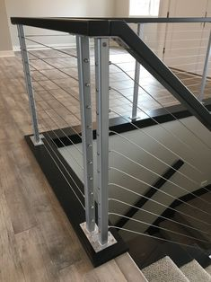 Cable Deck Railing For Sale Stainless steel cable hardware Metal Stair Railing, Balcony Railing Design, Staircase Handrail, Glass Railing, Deck Railings, Modern Staircase, Railing Ideas, Glass Stairs, Staircase Ideas