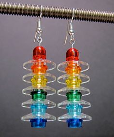 Lego earrings rainbow and clear silver plated ear by beyondthebulb