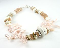 Necklace mother of pearl pastel pink peach by PiaBarileJewelry, $49.00