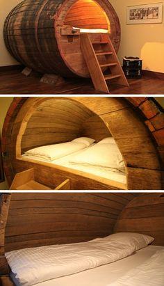 Sleep an a 100+ year old beer barrel at the Landhotel Hof Beverland, an unusual hotel near Ostbevern, Germany
