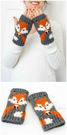 Crochet Fox Fingerless Gloves Pattern - 50 Free Crochet Fox Patterns - Crochet F. Crochet Fox, Crochet Mittens Free Pattern, Crochet Motifs, Baby Knitting Patterns, Crochet Crafts, Free Crochet, Crochet Patterns, Diy Crafts, Hat Patterns