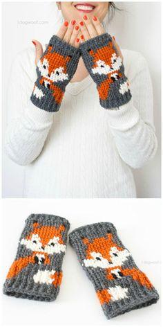 Crochet Fox Fingerless Gloves Pattern - 50 Free Crochet Fox Patterns - Crochet F. Baby Knitting Patterns, Crochet Mittens Free Pattern, Free Crochet, Crochet Patterns, Hat Patterns, Pattern Ideas, Crochet Fox, Knitting Projects, Crochet Projects