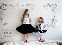 so cute - small and big girls wearing DOLLY skirts Black beauty and Audrey Hepburn Hush Puppies, Audrey Hepburn, Dr. Martens, Tulle, Elegant, Skirts, How To Wear, Black Beauty, Type 1