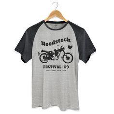 Camiseta Raglan Premium Masculina Woodstock Festival ´69 - bandUP Store #woodstock