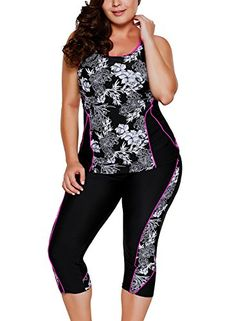 New Aleumdr Womens Floral Printed Racerback Tankini Swimsuits with Swim Capris M - XXXL online. Find the perfect Spring fever Swimsuit from top store. Sku TOXE44922XIML34910