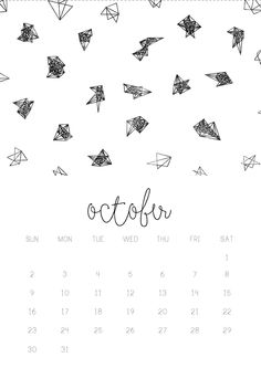 10/12 October monthly 2016 calendar printable, collage digital design by Gisela Titania. ask me for higher resolution via email titaniagisela@gmail.com. A5 size