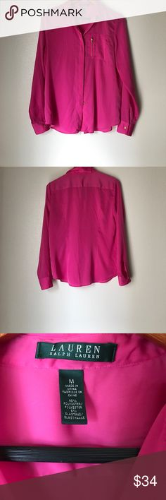 Lauren Ralph Lauren Fuchsia Pink Soft Blouse Size Medium 95% Polyester 5% Spandex  Excellent Used Condition  Very soft silky feel Gold buttons and zipper No rips no stains Lauren Ralph Lauren Tops Blouses