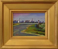 Route 6A Intersection Truro Cape Cod Orig.Oil Painting 6X8''on Canvas Framed #Impressionism
