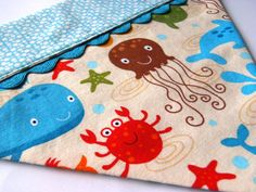 Sea Creatures - Whale, Crab, Jellyfish, Dolphin. Over the Collar Dog Bandana by FoxyLoxyPetDesigns, $11.00