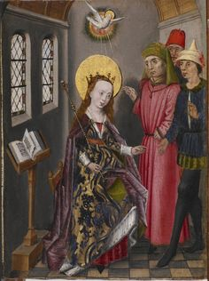 Catherine of Alexandria was one of the most popular saints in medieval western Europe. This image and its two associated panels from Flanders show Catherine confronting the Roman emperor, converting the learned pagans who were supposed to disprove her Christian beliefs, and, with the help of the Holy Spirit, confounding a second group of scholars sent to visit her in prison. Flanders, c. 1480.