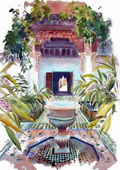 Palais de la Bahiya Marrakech (Marco) - Peinture,  60x80 cm ©2015 par Catherine Rossi -                            Architecture, Marrakech, Palais Bahiya