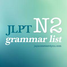 JLPT N2 Grammar List
