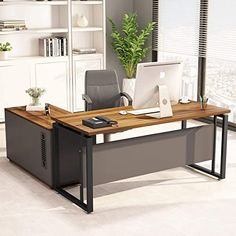 New LITTLE TREE L-Shaped Computer Desk, 55 inches Executive Desk Business Furniture File Cabinet Storage Mobile Printer Filing Stand Home Office Dark Walnut online shopping – Fayafashionable – office organization business Mesa Home Office, Home Office Desks, Home Office Furniture, Modern Office Desk, Office Suite, Modern Corner Desk, Modern L Shaped Desk, Large Office Desk, L Shaped Office Desk