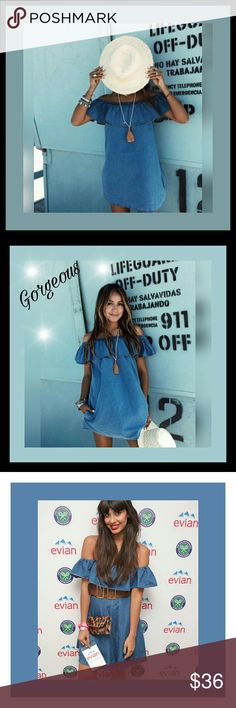 🌺Elegant jean style off shoulder mini dress🌻 Brand new ,Very comfortable and gorgeous denim style off the shoulder dress , with ruffle around tip. Material is just right not too thick and not too thin.i love it looks great w/ a belt & accessories for a very gorgeous fashion statement. Have only 2 xlarge more on order. Cotton & poly blend. Had 2 different people try on xlarge & one usually wears size 10 other sizes 13 sometimes 14 both look great especially when they added a belt,  one…