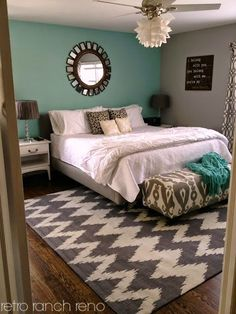 Turquoise, gray, and white teen bedroom. My daughter decorated her ...