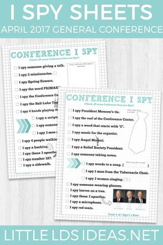 These General Conference I Spy Sheets are perfect for keeping little ones busy during General Conference! Free printables from Little LDS Ideas via @https://www.pinterest.com/littleldsideas/