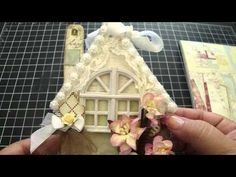 shabby chic house ornament made from chipboard shape.