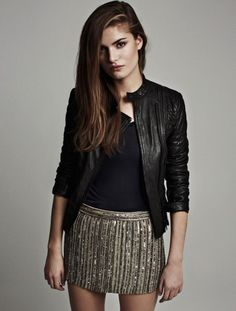 All Saints leather jacket and sequin skirt 09164dd86