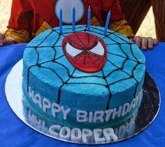 Spiderman cake - light blue icing, white web, black spider logo cut out of felt. We can just peel it off Superhero Birthday Cake, Novelty Birthday Cakes, Birthday Treats, Boy Birthday Parties, Spiderman Cake Topper, Batman Cakes, Cupcake Cakes, Wilton Cakes, Cupcakes
