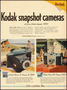 Ministry of Plenty: Kodak Tourist II and Pony 135 Cameras ad, 1951