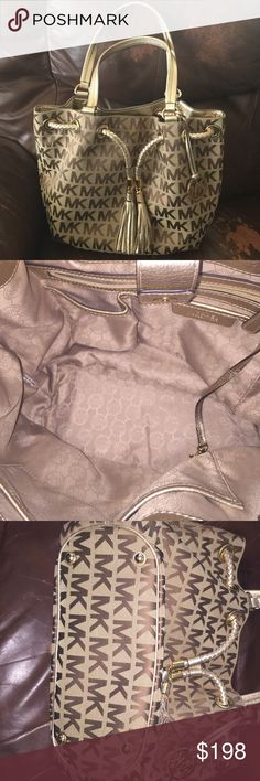 "Michael Kors Jet Set Gathered Tote Excellent condition, no stains or tears, magnetic snap tab closure, double handles, gold tone hardware, leather trim, MK signature jacquard. No dust bag, smoke and pet free home. Approx 11""Lx12""Hx5""D 9"" strap drop Michael Kors Bags"