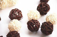 Amazon.com : CheckMineOut 20Pcs Mixed 3cm 5 cm White Coffee Wood Twig Rattan Wicker Ball Wedding Decorations Home Garden Hanging Decor : Baby