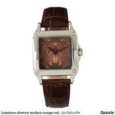 Luminous abstract modern orange red Fractal Wristwatch