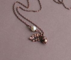 A Little Nuts for Autumn --  Antiqued Copper Acorn and Oak Leaf Necklace.  Dress for all seasons!!