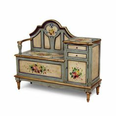 gossip bench aa importing co inc painted floral hall seat gossip… Decoupage Furniture, Hand Painted Furniture, Refurbished Furniture, Miniature Furniture, Paint Furniture, Doll Furniture, Repurposed Furniture, Shabby Chic Furniture, Dollhouse Furniture