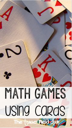Math Games Using Playing Cards Math Games with Playing Cards: Perfect way to make math concepts fun for the upper elementary grades.Math Games with Playing Cards: Perfect way to make math concepts fun for the upper elementary grades. Math Strategies, Math Resources, Math Activities, Therapy Activities, Math Enrichment, Free Math Games, Math Card Games, Dice Games, Math Lessons