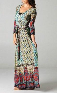 Shifting Seasons Moroccan Mosaic Print Boho Wrap Maxi Dress Chelsea Verde s 3X | eBay