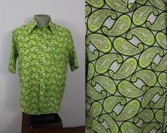 Vintage Mens 1960s Green Paisley Short Sleeved by livinvintageshop